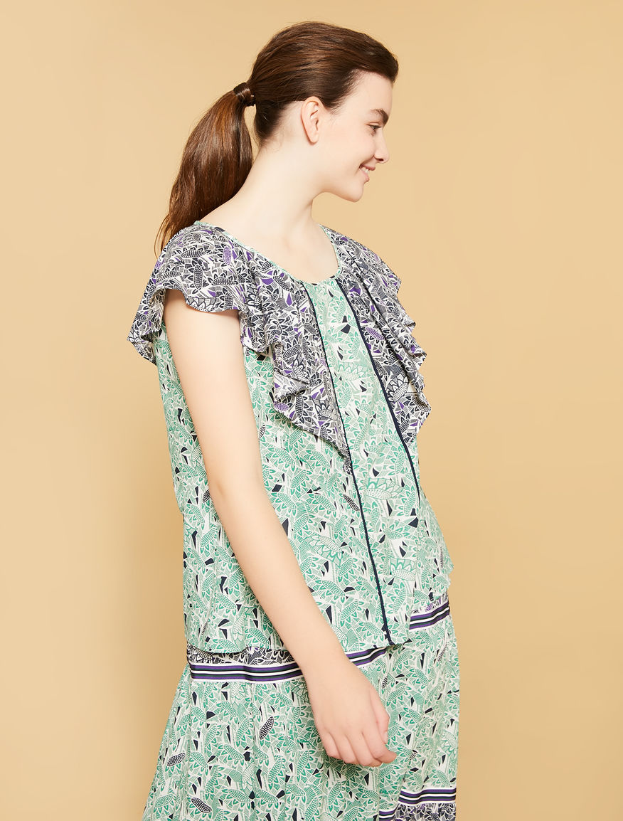 Camisola muselina de algodón estampada