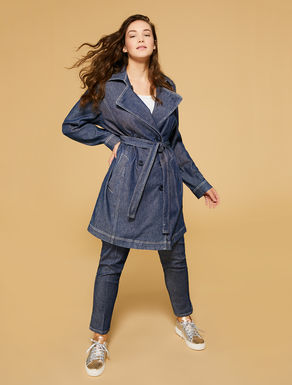 Stretch denim duster coat