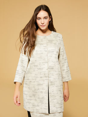Lurex jacquard duster coat