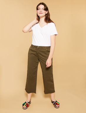 Strech gabardine cropped trousers