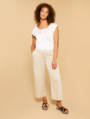 Pantalon en satin de coton stretch