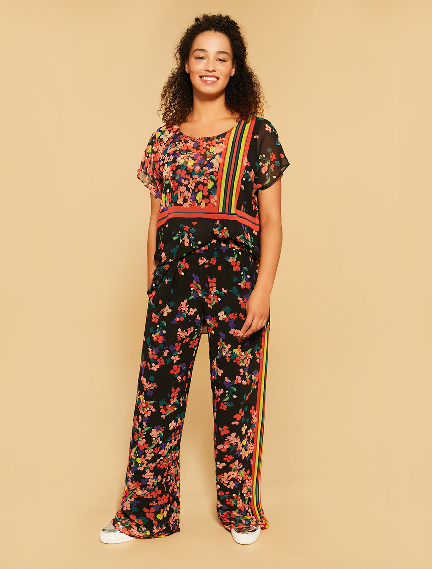 Printed georgette trousers