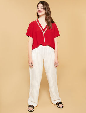 Pinstriped linen long trousers