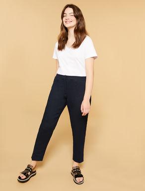 Pantalon slim en lin épais