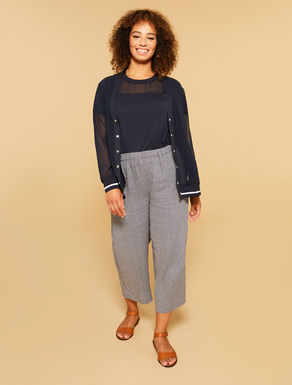 Cropped printed linen trousers