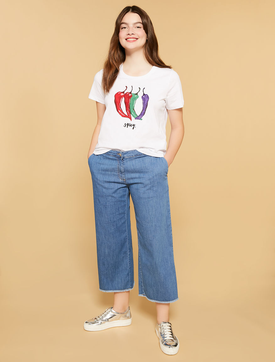Jeans cropped in denim leggero