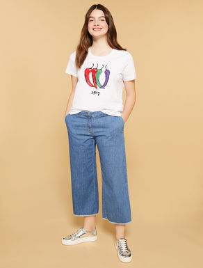Light-weight denim cropped jeans
