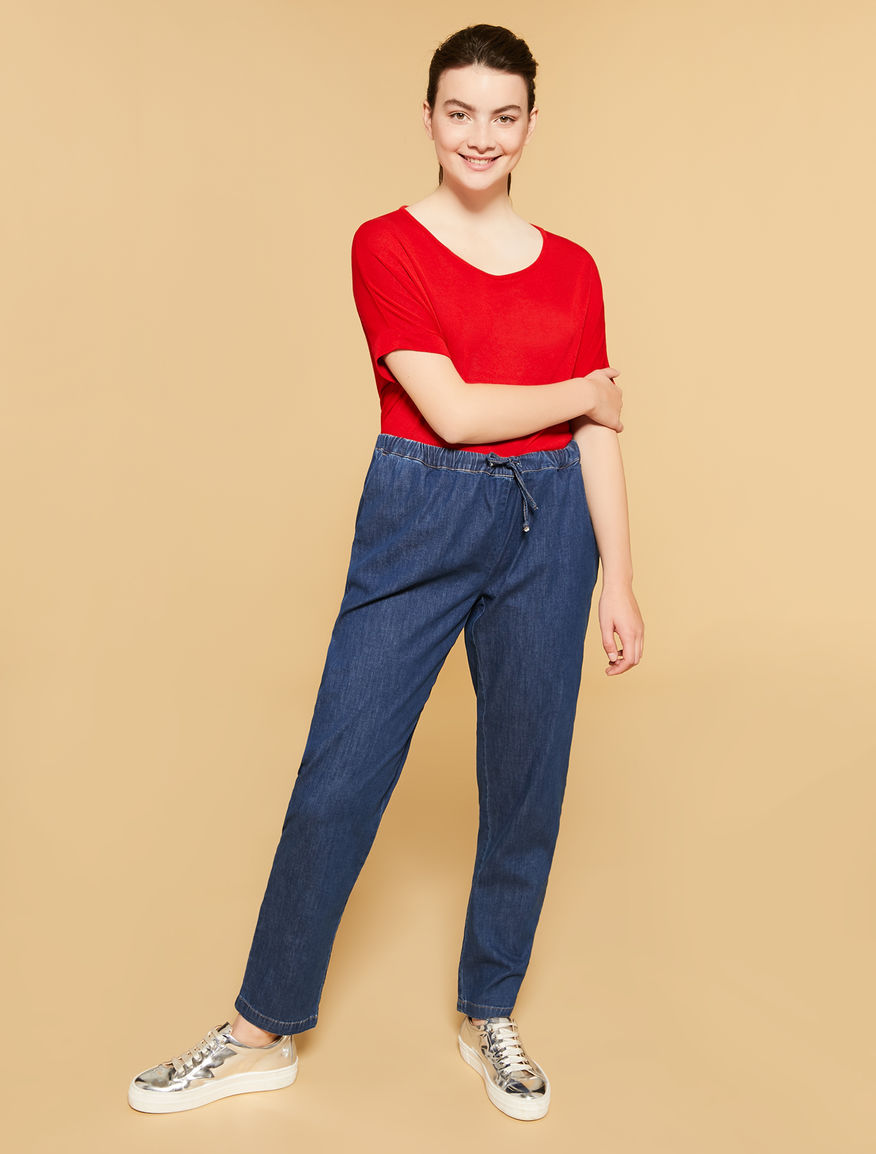 Lightweight denim jogging trousers