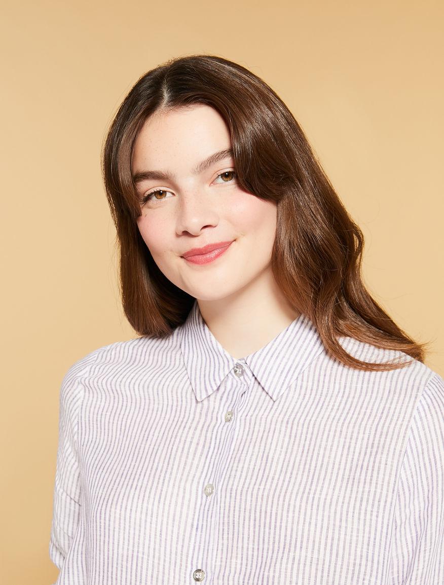 Bluse aus garngefärbtem Leinen