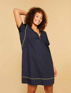 Kleid aus Viskose und Leinen