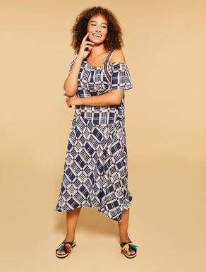 Printed linen long dress