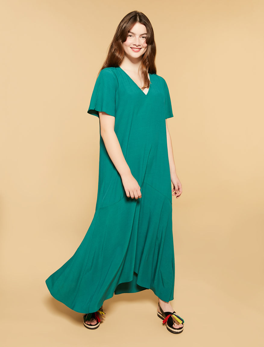 Viscose marocain long dress