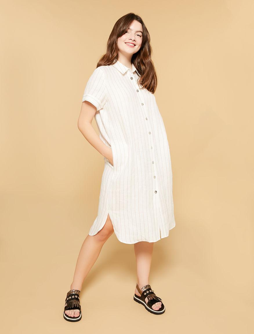 6d6d7825 Vestido camisero de lino a rayas, blanco -