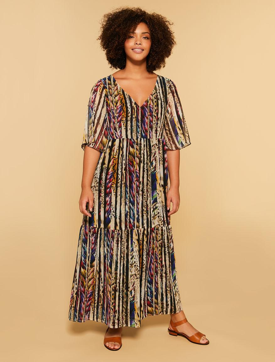 Langes Kleid aus bedruckter Georgette