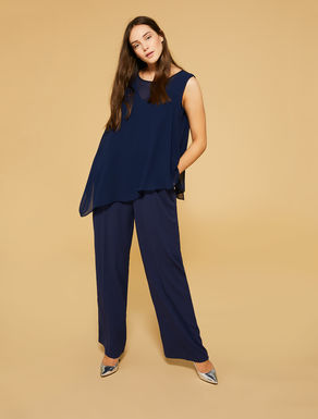 Flowing stretch fabric jumpsuit