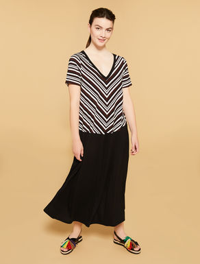 Striped jersey long dress