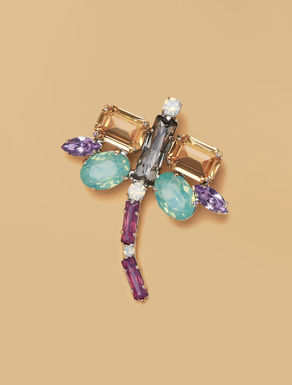 Rhinestone and metal brooch