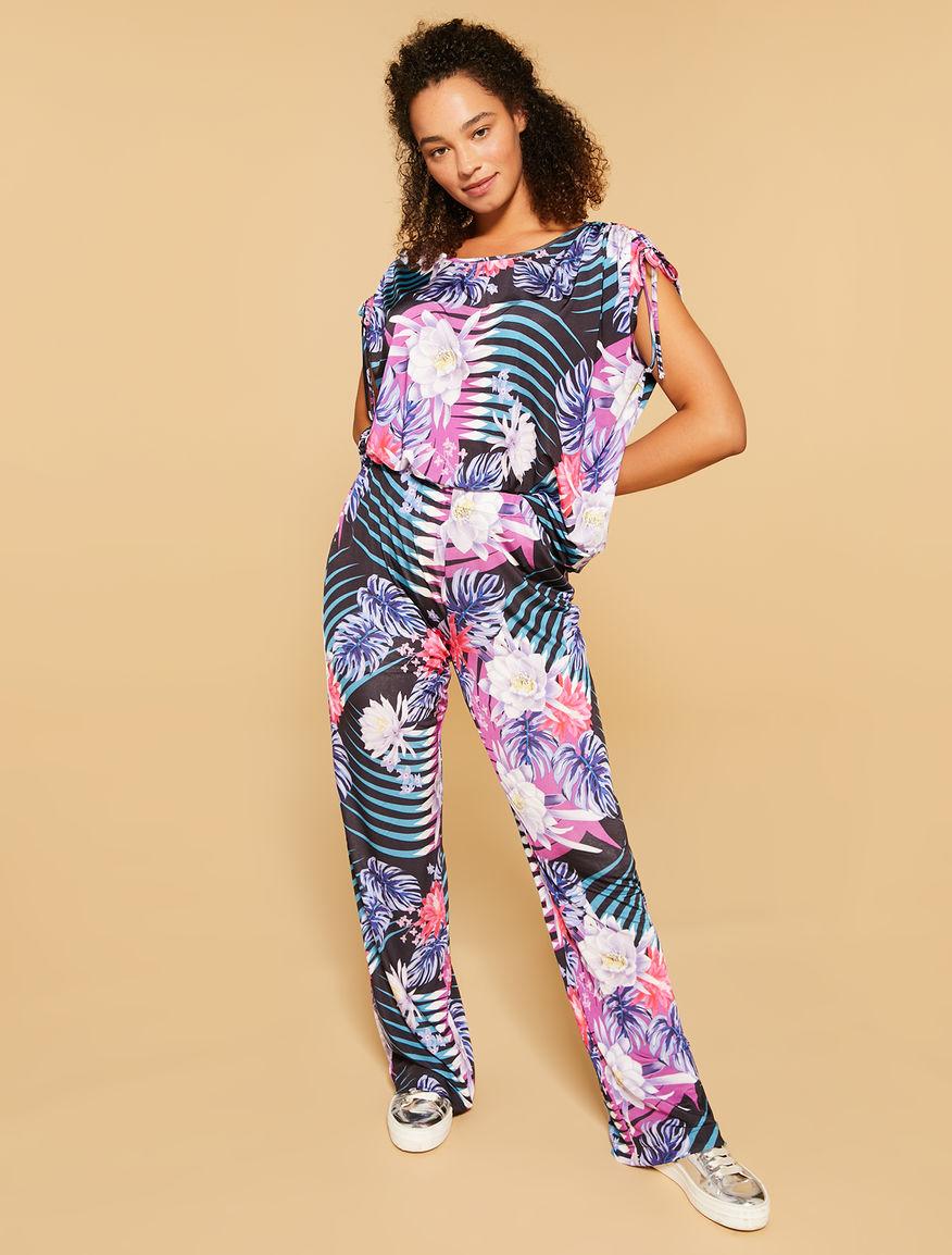 Printed interlock trousers