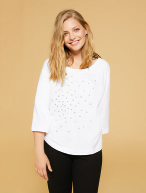 Sweat-shirt en coton avec strass