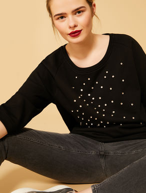 Cotton sweatshirt with rhinestones