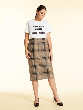 Skirt in snakeskn-print jacquard