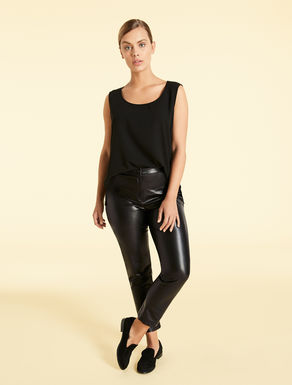 Super-slim faux nappa trousers