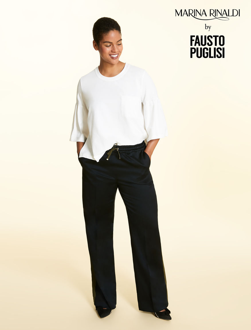Cotton satin and linen trousers