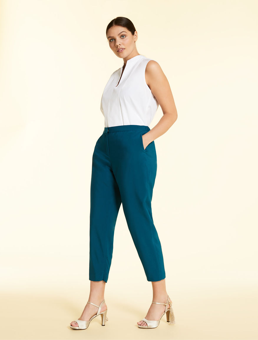 Cropped, loose twill trousers