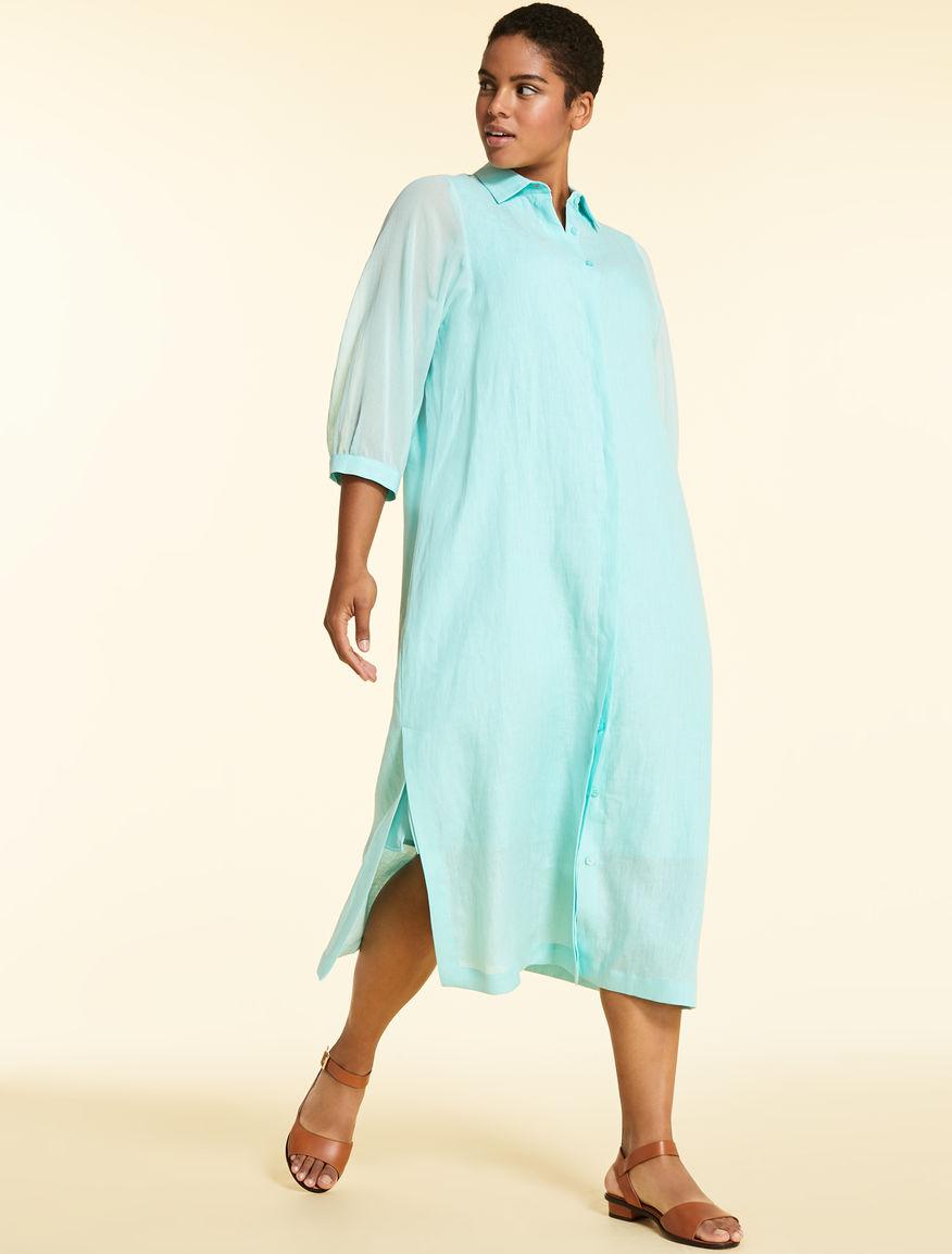 Shirt dress in light linen
