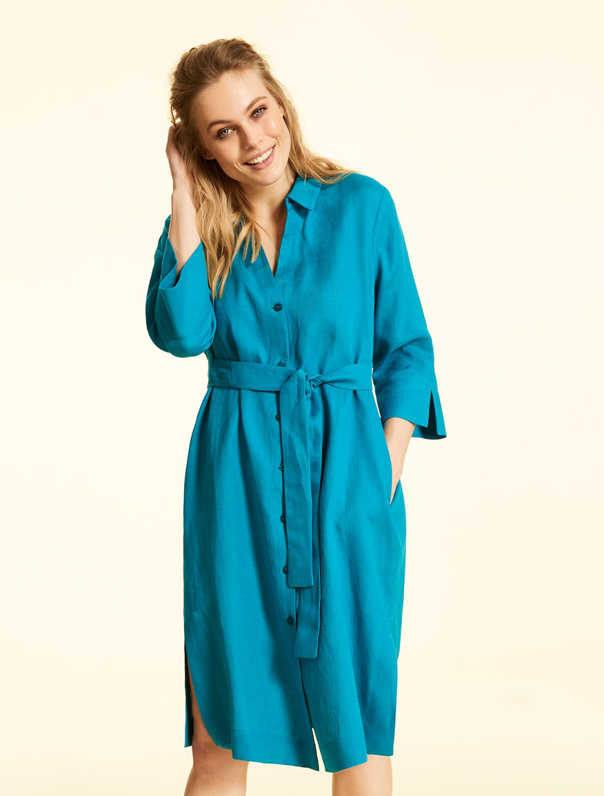 Pure linen shirt dress