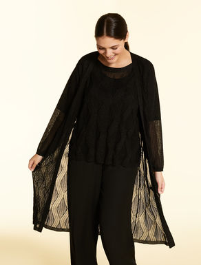 Long, crepe viscose cardigan