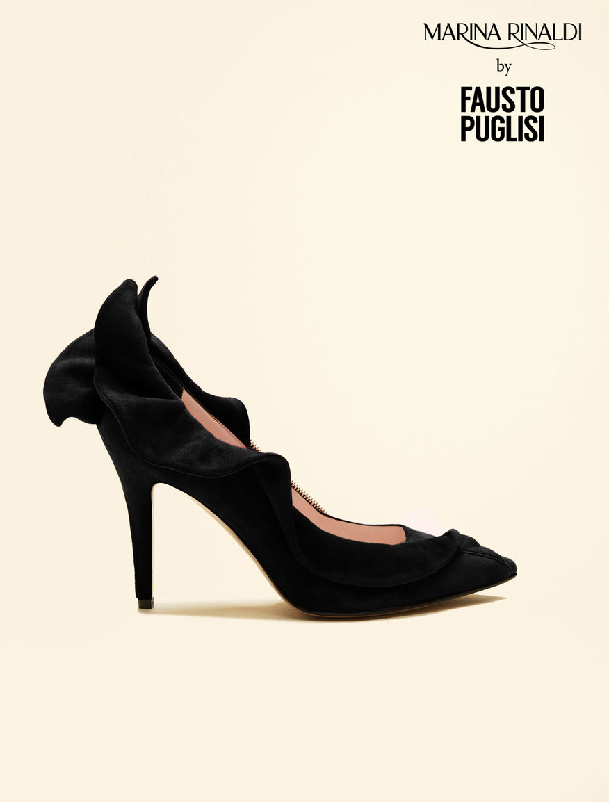 Suede court shoes with ruffles