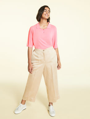 Satin and linen trousers