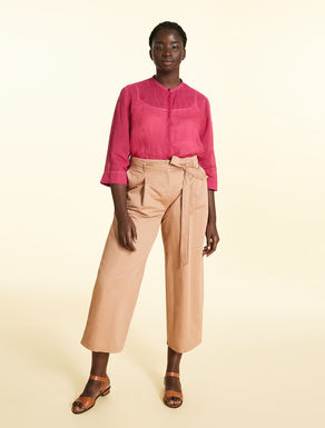 Cropped linen slub trousers