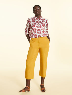 Cropped trousers in cotton and silk