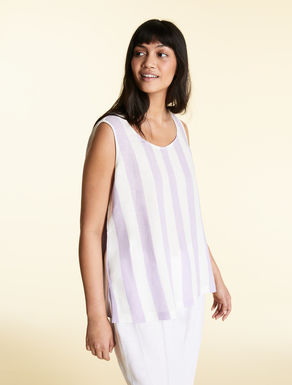 Top in yarn-dyed pure linen