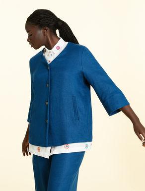 Basket-weave linen jacket
