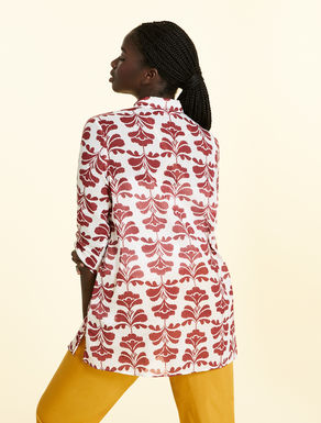 Printed shirt in cotton and ramie