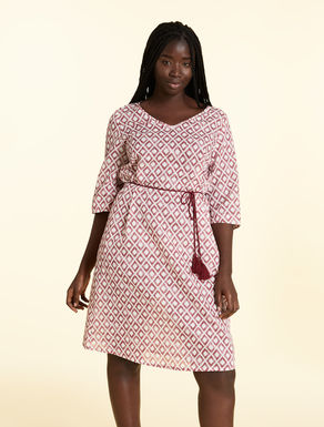 Dress in cotton and lightweight linen