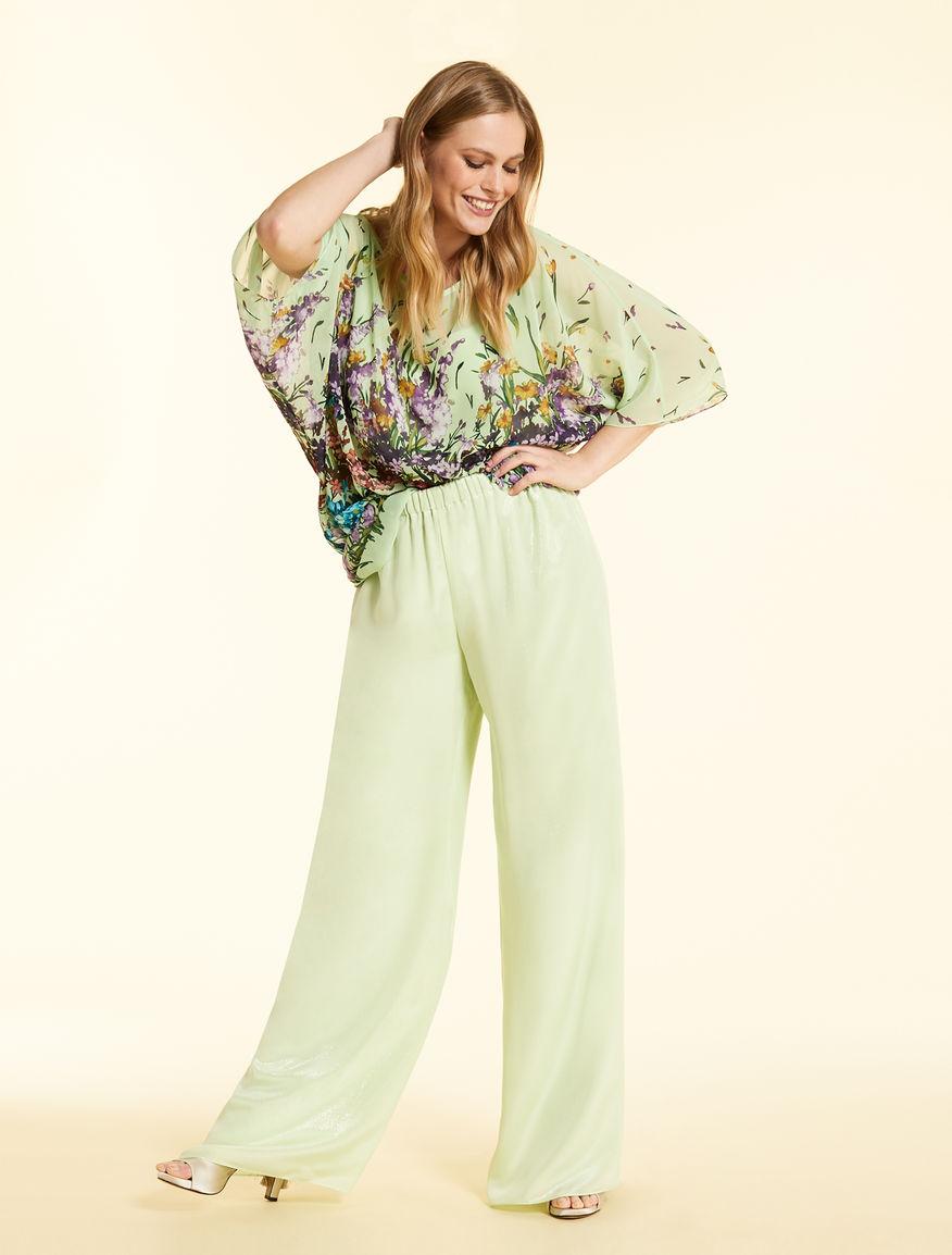 Long trousers in silk georgette