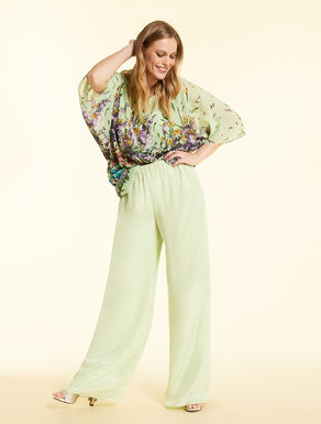 Long trousers in silk georgette