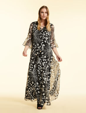 Dress in printed silk georgette