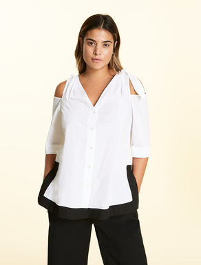Poplin shirt with cut-outs