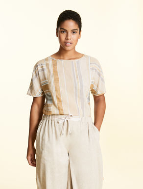 Tunic in striped linen blend