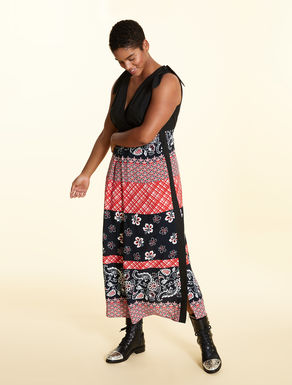 Dress in printed crepe viscose