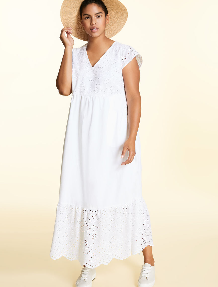 Long dress in cotton poplin