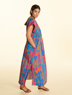 Long dress in printed poplin