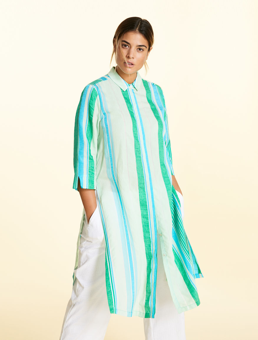 Tunic in striped cotton blend