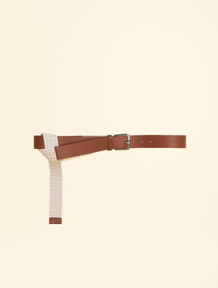 Leather and raffia belt