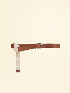Leather and raffia belt